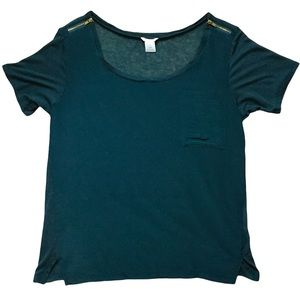 CLUB MONACO Top with Zippered Shoulders Size Large
